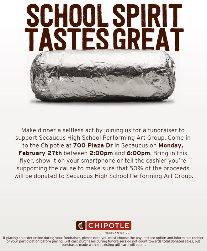 Please support the SHS Performing Arts Group for a Fundraiser at Chipotle Thumbnail Image