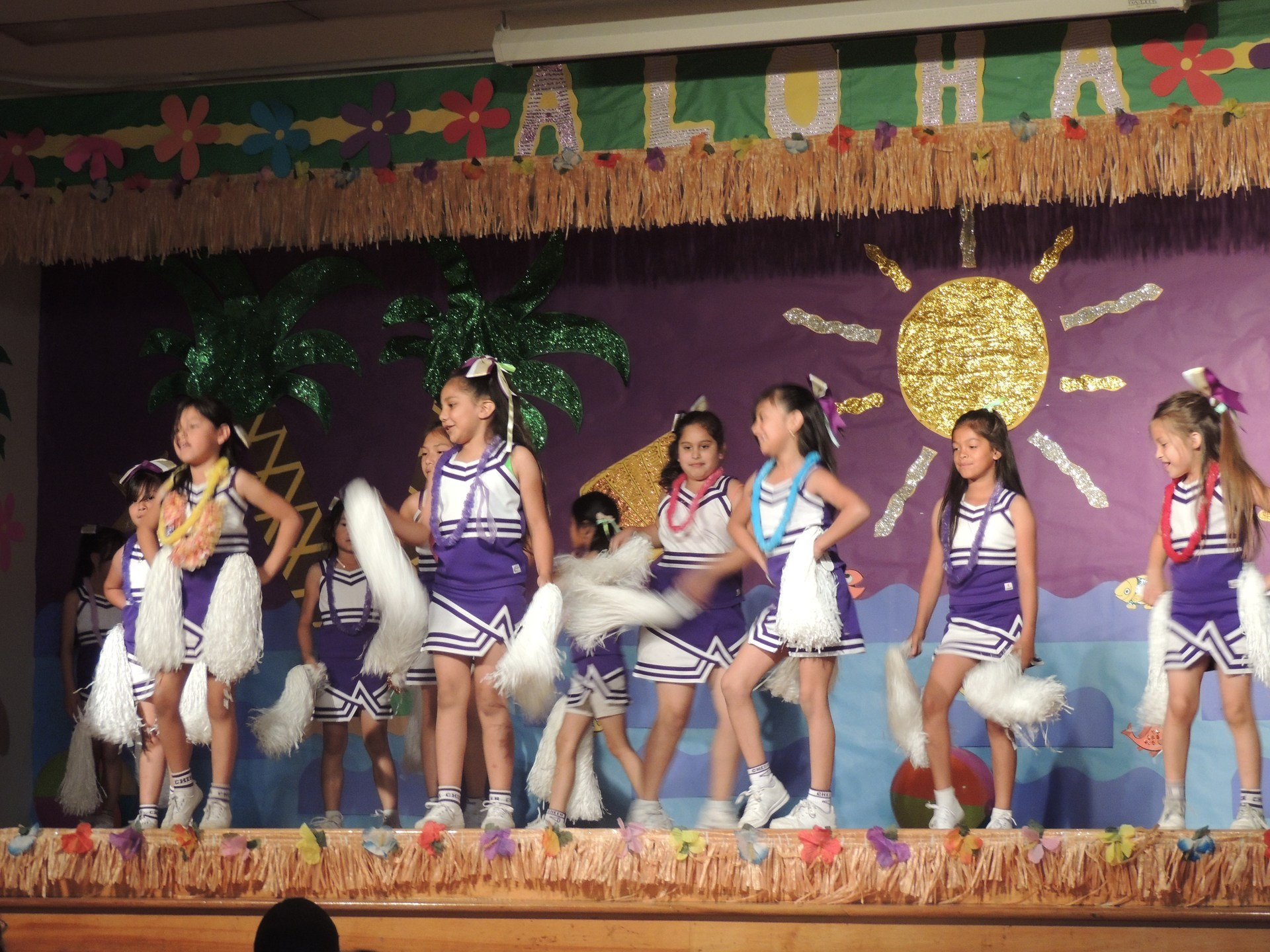 Cheerleaders performing.