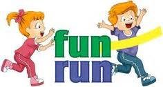 Boy and girl with Fun Run logo.