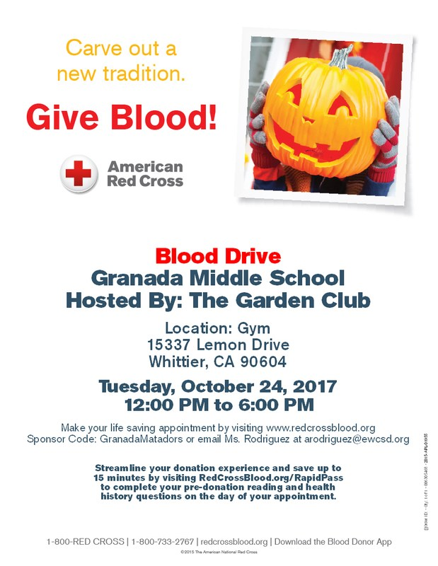 Blood Drive Flyer, addition copies are available in the office.
