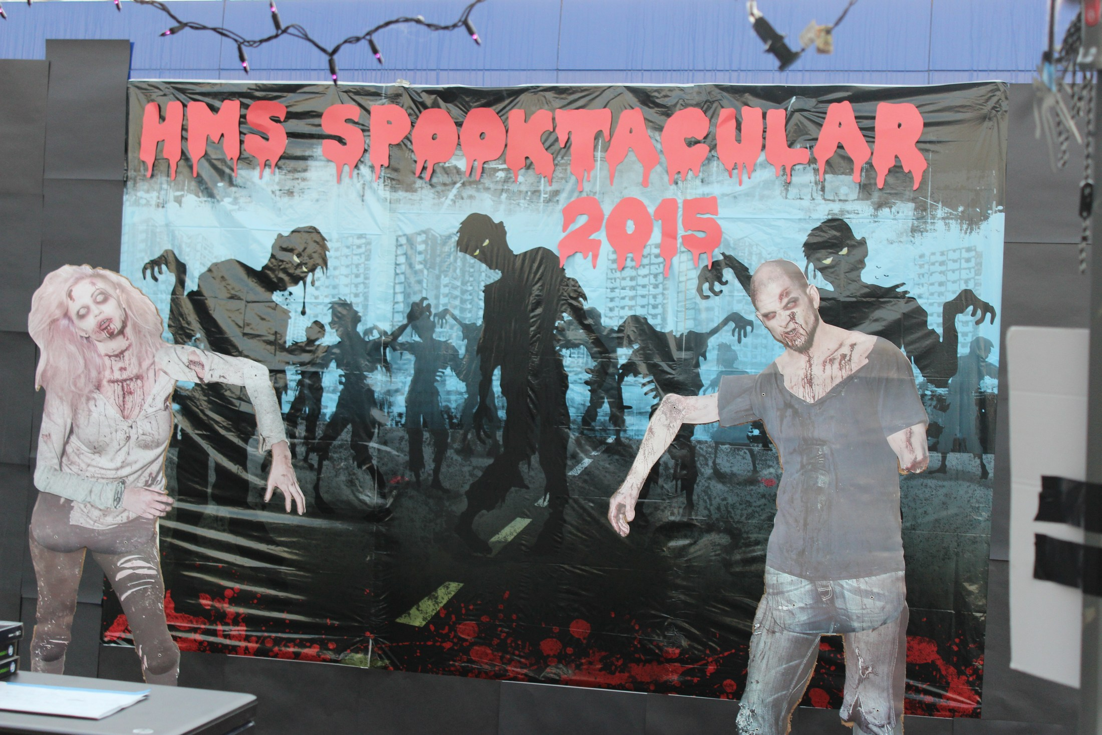 HMS Spooktacular 2015 sign and zombie cut-outs