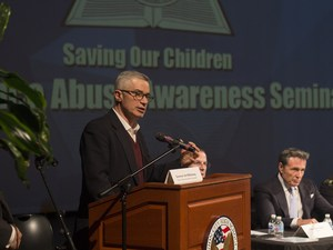 Governor McGreevy Giving Seminar on Substance Abuse