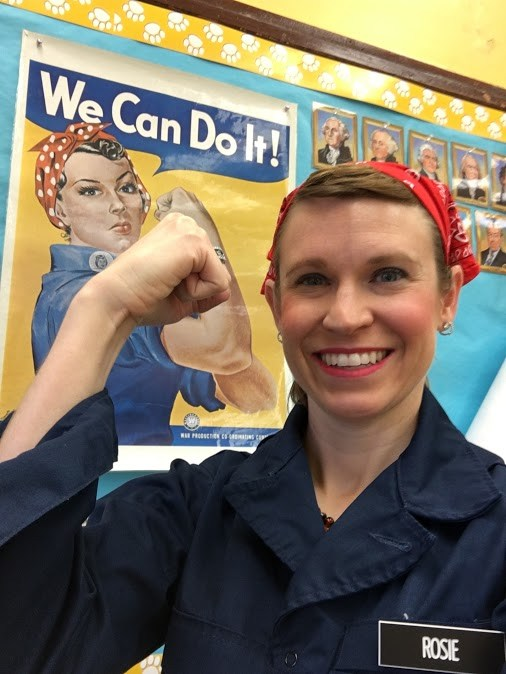 Ms. Dumais dressed as Rosie the Riveter