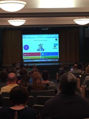 New parents play a Kahoot quiz about OLSH at the Welcome Night