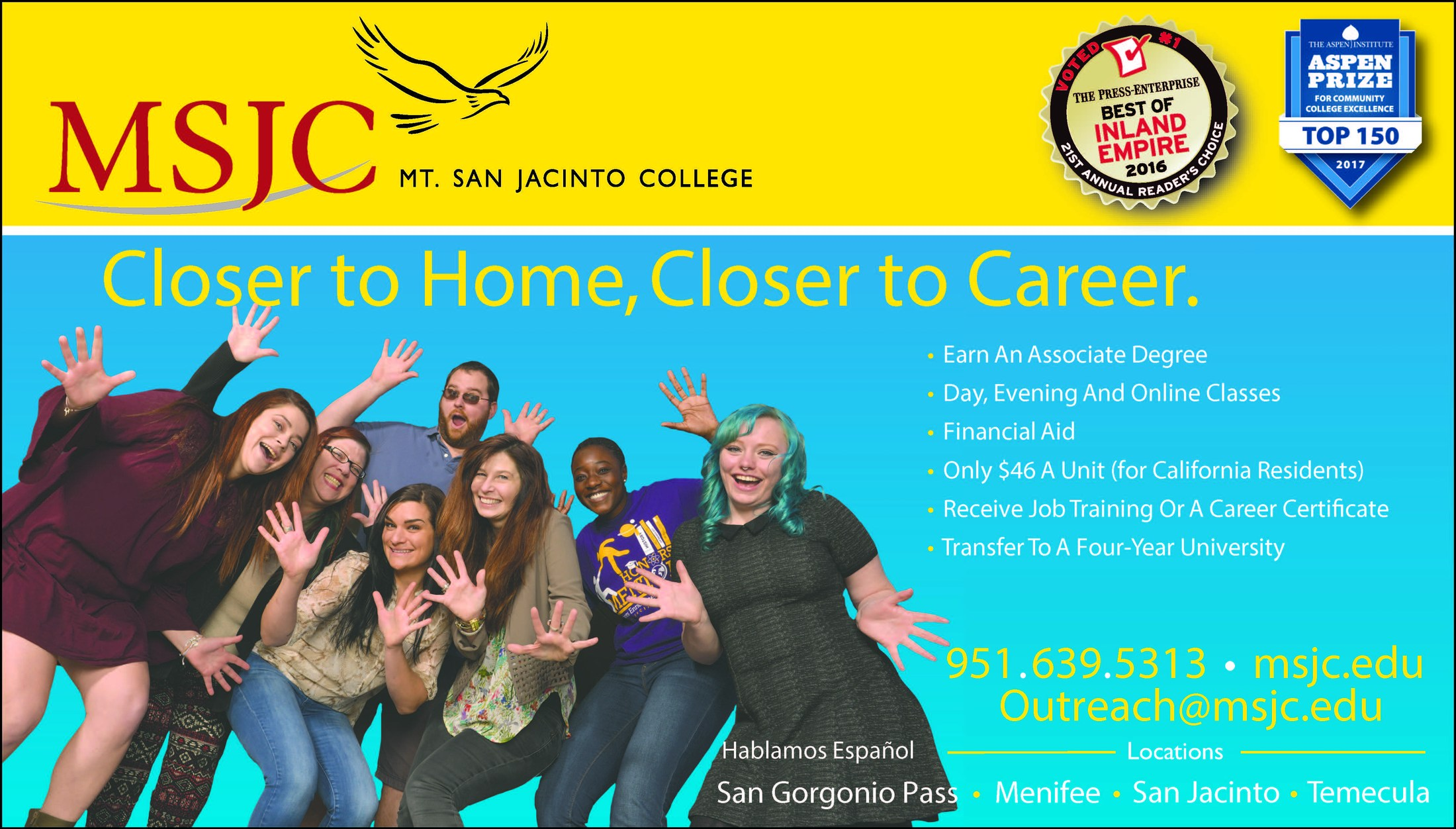 Mt. San Jacinto College flyer