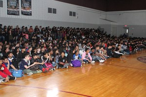 Decker Middle School students sitting.