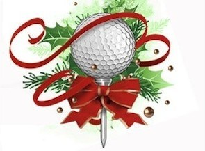 golf ball on a tee with ribbon and garland for Christmas