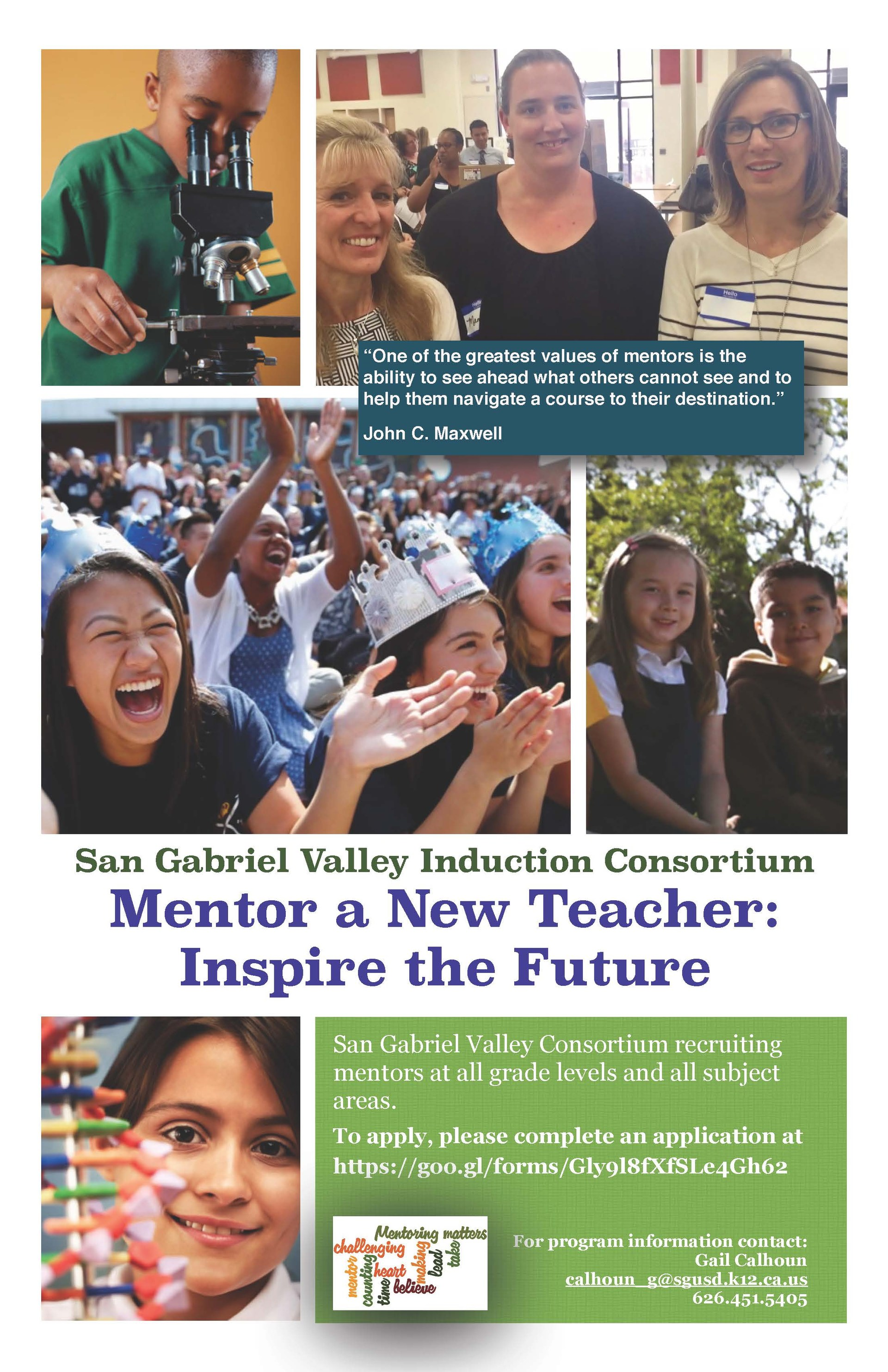 Flyer for Mentor Teacher Program. Images of students and teachers sitting and standing.