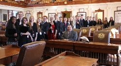 Rep Bell with Student Leadership group on the House floor.jpg