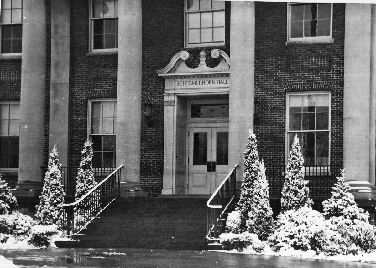 Snowy view of the original front steps of Schermerhorn Hall