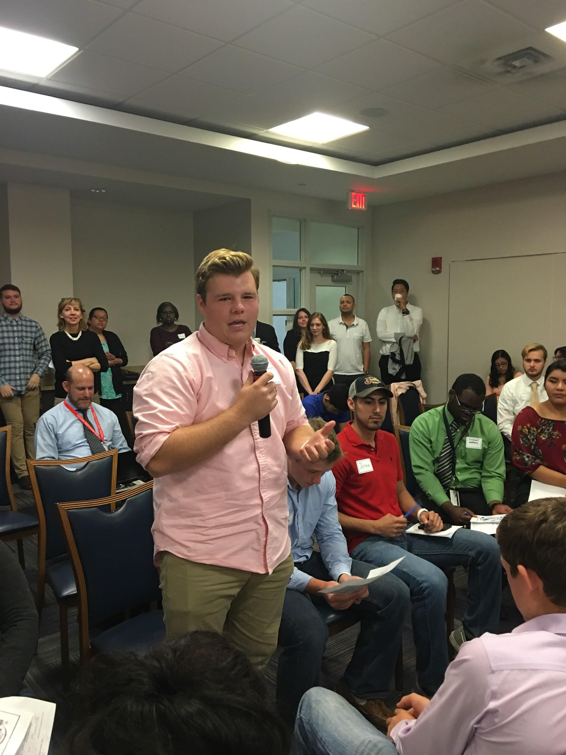 Pioneer Clint Lane speaking at mock trial