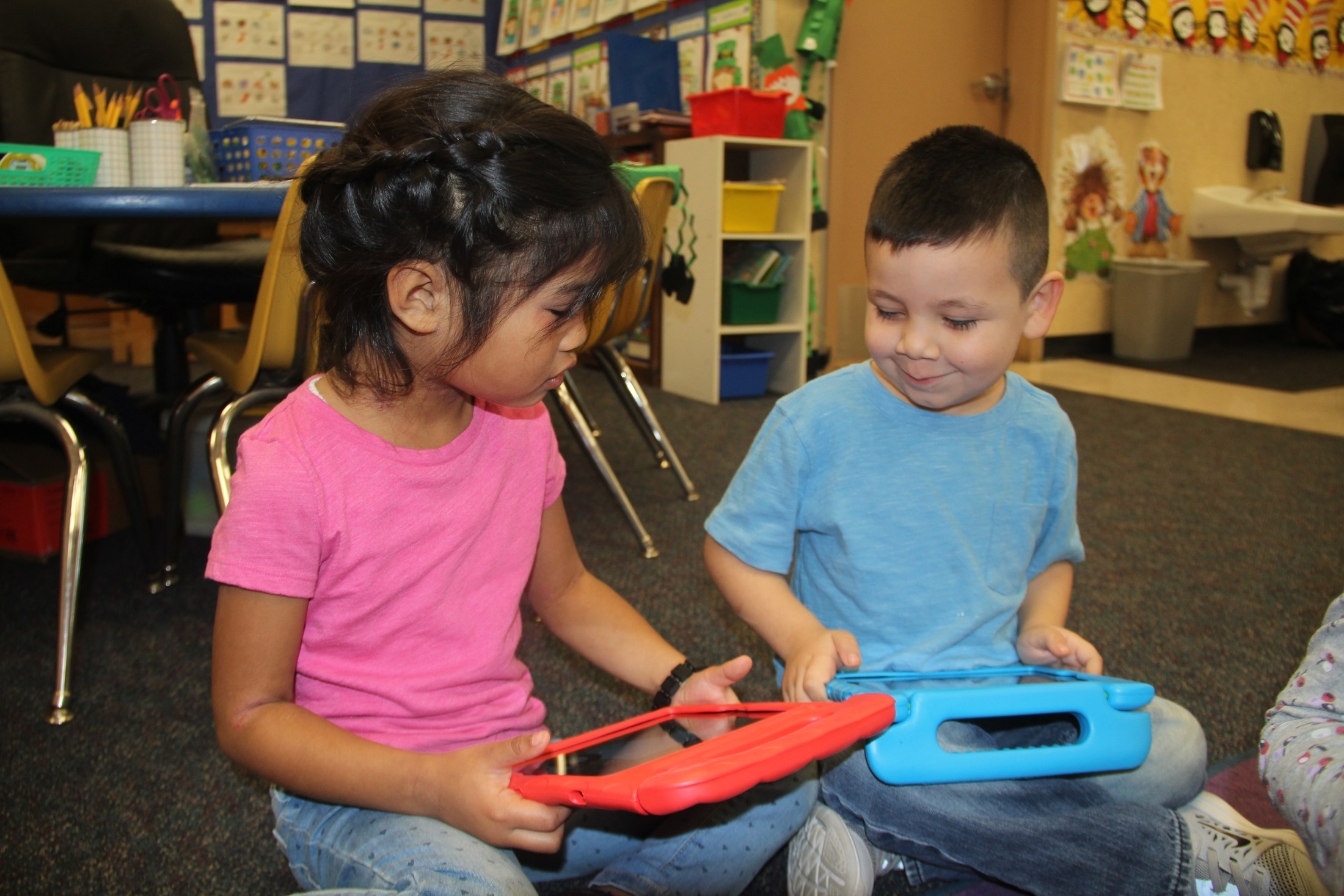 TK students with iPads