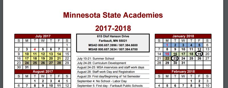 MSA School Calendar Available Now! Thumbnail Image