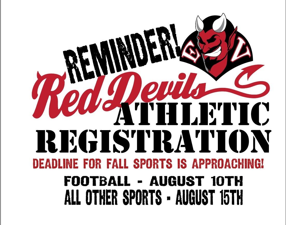 EVHS fall athletic registration reminder