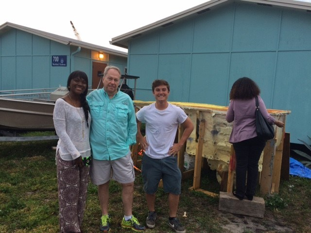 (L-R)  Three-time cancer survivor Andrea Torrente, Tom McDonald, and RBMA student Riordan Cicciu.