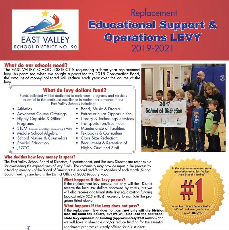 A picture of the front page of the levy brochure. All of the content on this picture can be found on our LEVY FACTS webpage.