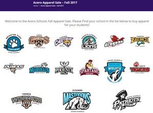website homepage of school mascots