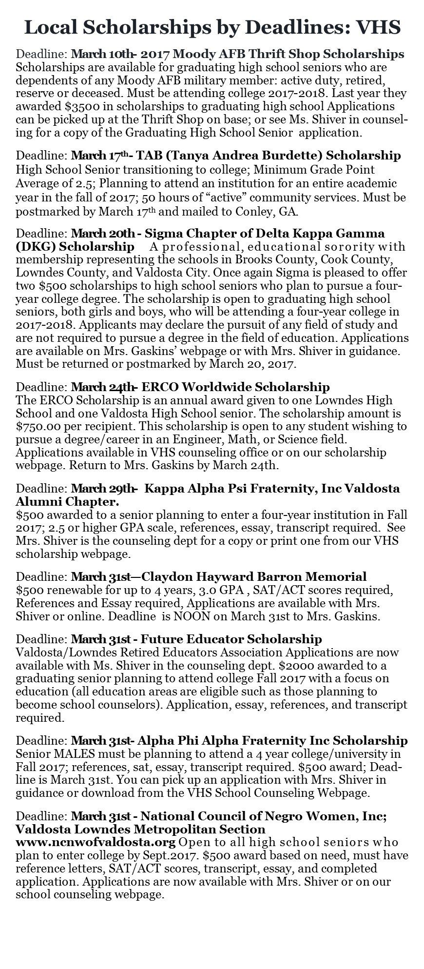 Scholarships School Counseling Valdosta High School – Scholarship Application Essay