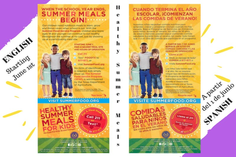 This is a flyer with English and Spanish talking about Healthy Summer Meals For Kids