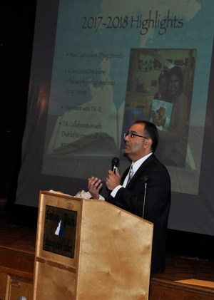 BPUSD_ECE_3: Baldwin Park Unified Early Childhood Education Director Ricardo Rivera recounts the organizations accomplishments in 2017-18 during the group's annual community partnership recognition lunch, held April 19.