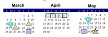 March April May 2018 calendar