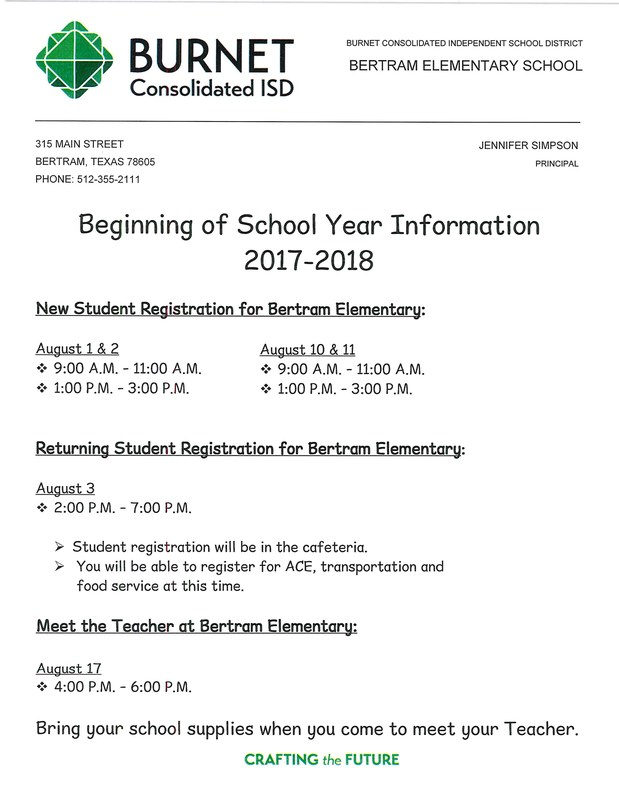 Beginning of School Year Information - 2017-2018 Thumbnail Image