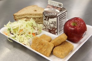 Typical school lunch tray filled with food