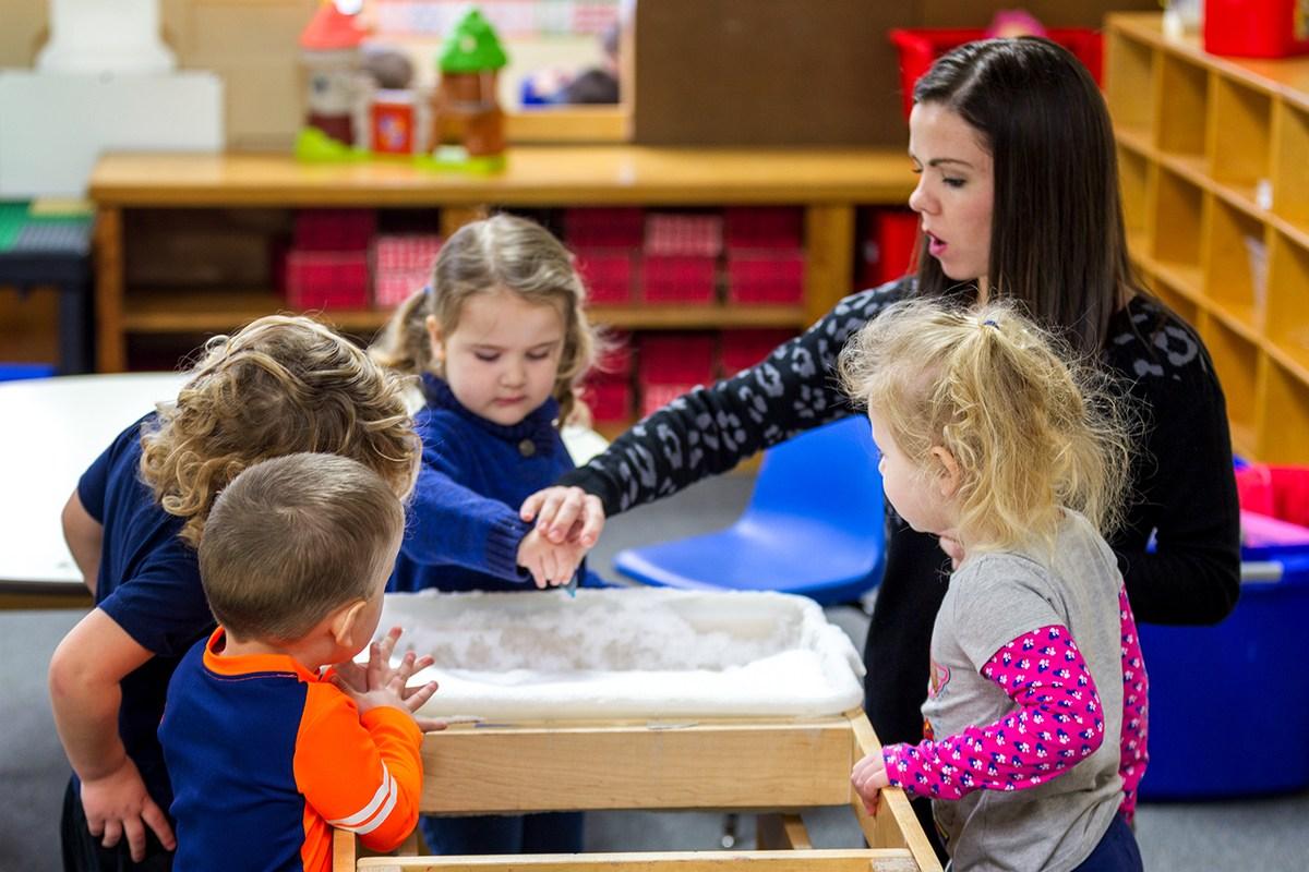 children learning in preschool