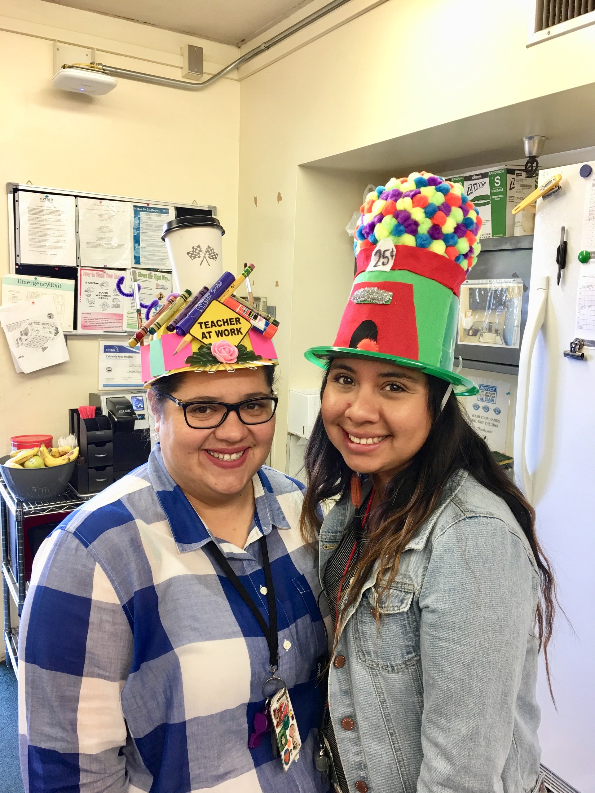 teachers wearing silly hats