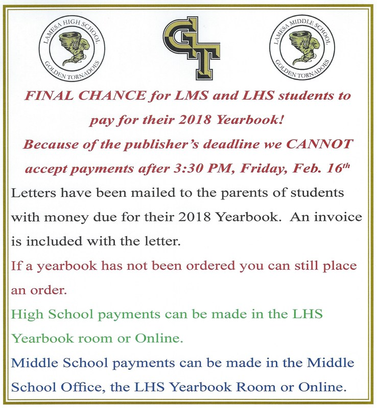 Final Chance for LMS and LHS Yearbook Payments! Thumbnail Image