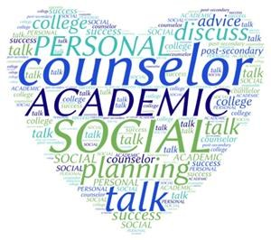 heart with words describing the services school counselors provide