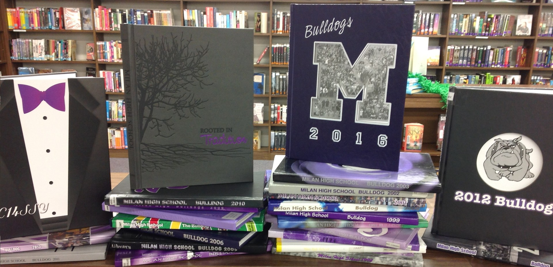 group of yearbooks