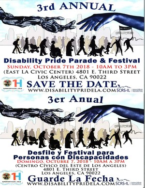 Save the date for the 3rd Annual Disability Pride Parade & Festival! Silhouettes of people marching in a line.