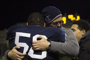 Happy hug after game win