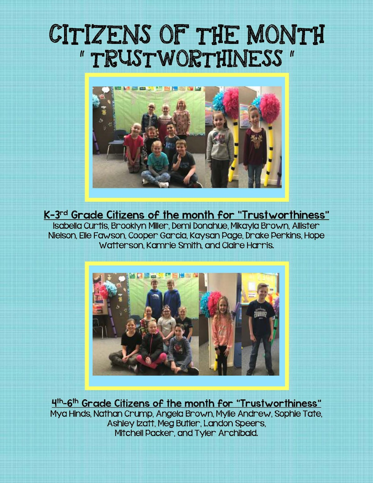 Citizen of the Month for Trustworthiness