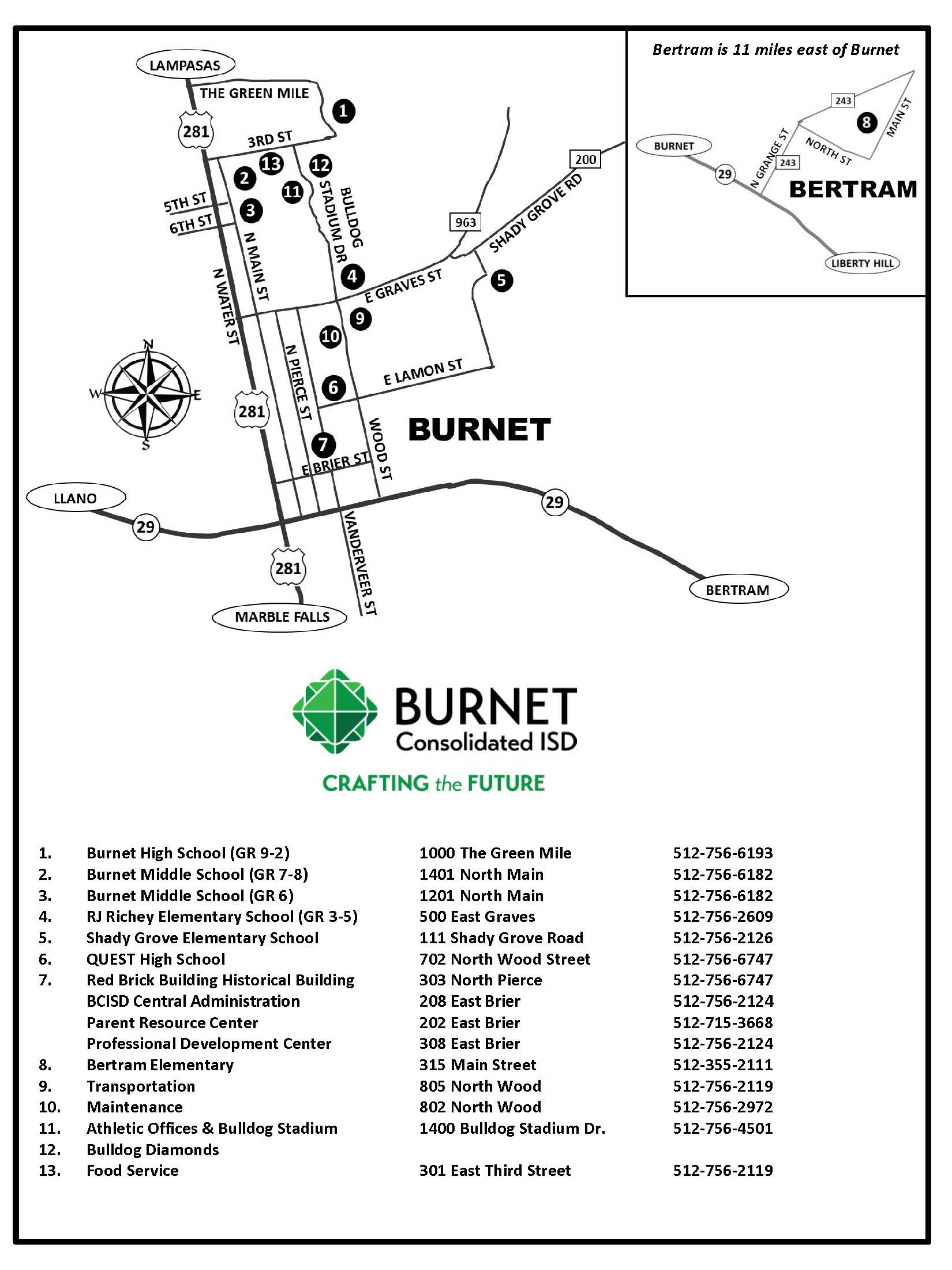 Map Of Texas High Schools.District School Maps District Burnet Consolidated Isd