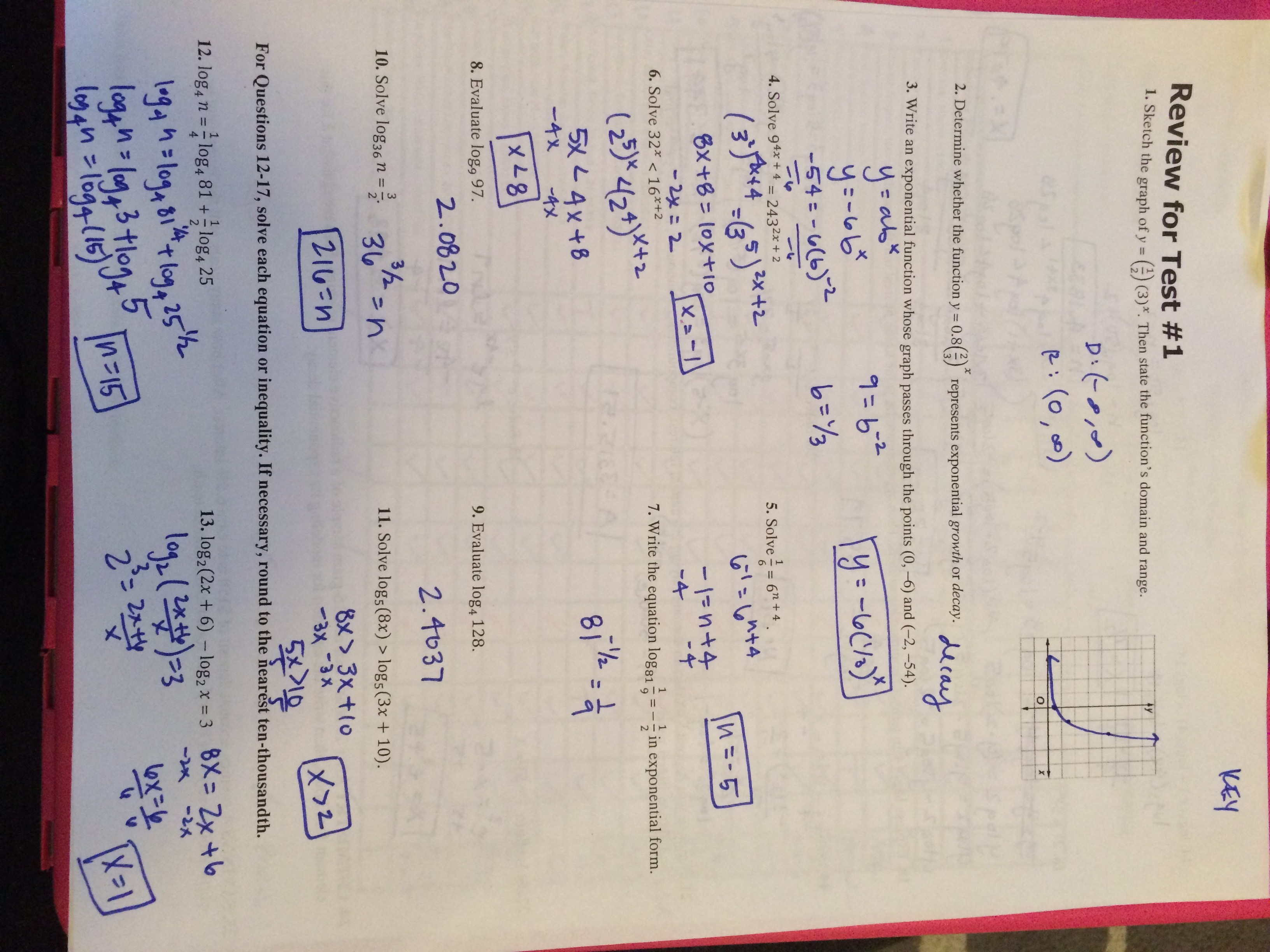 worksheet Solving Exponential And Logarithmic Functions Worksheet Answers akins high school test 5 1 review answers part 1