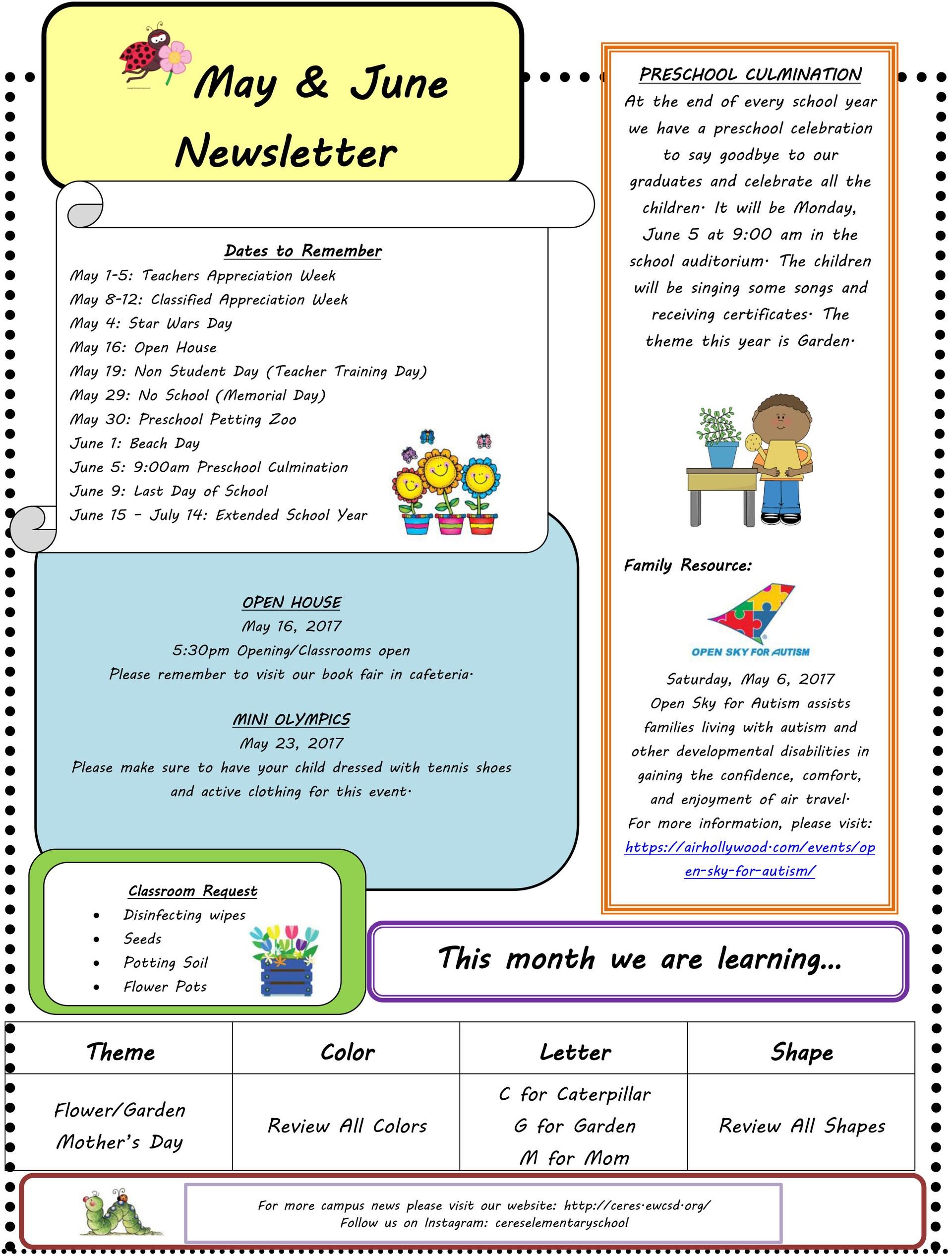 May-June newsletter for Ceres preschool