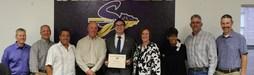 Patrick Blount, Dr Sandra McCoy-Jackson, Jennie Flaa, and the Sanger ISD School Board