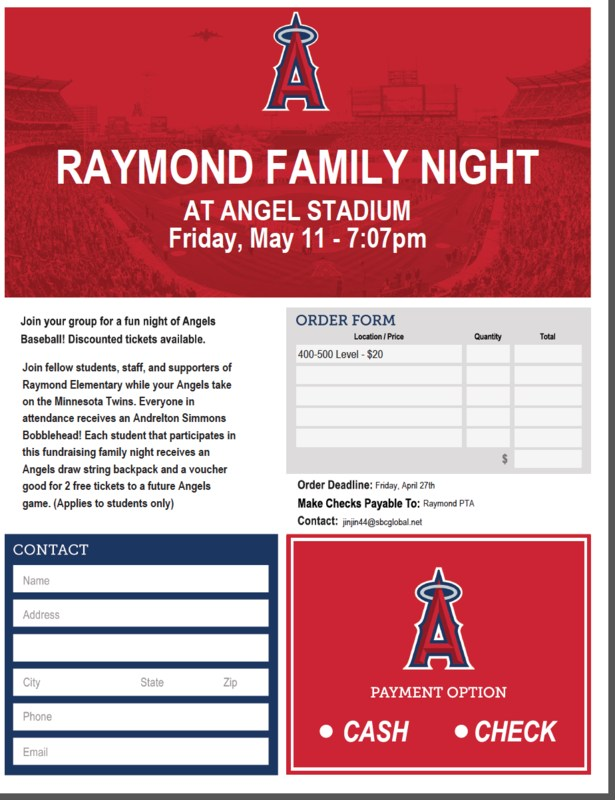 COME JOiN US AT ANGELS GAME May 11, 2018. Order Deadline April 27, 2018. Featured Photo