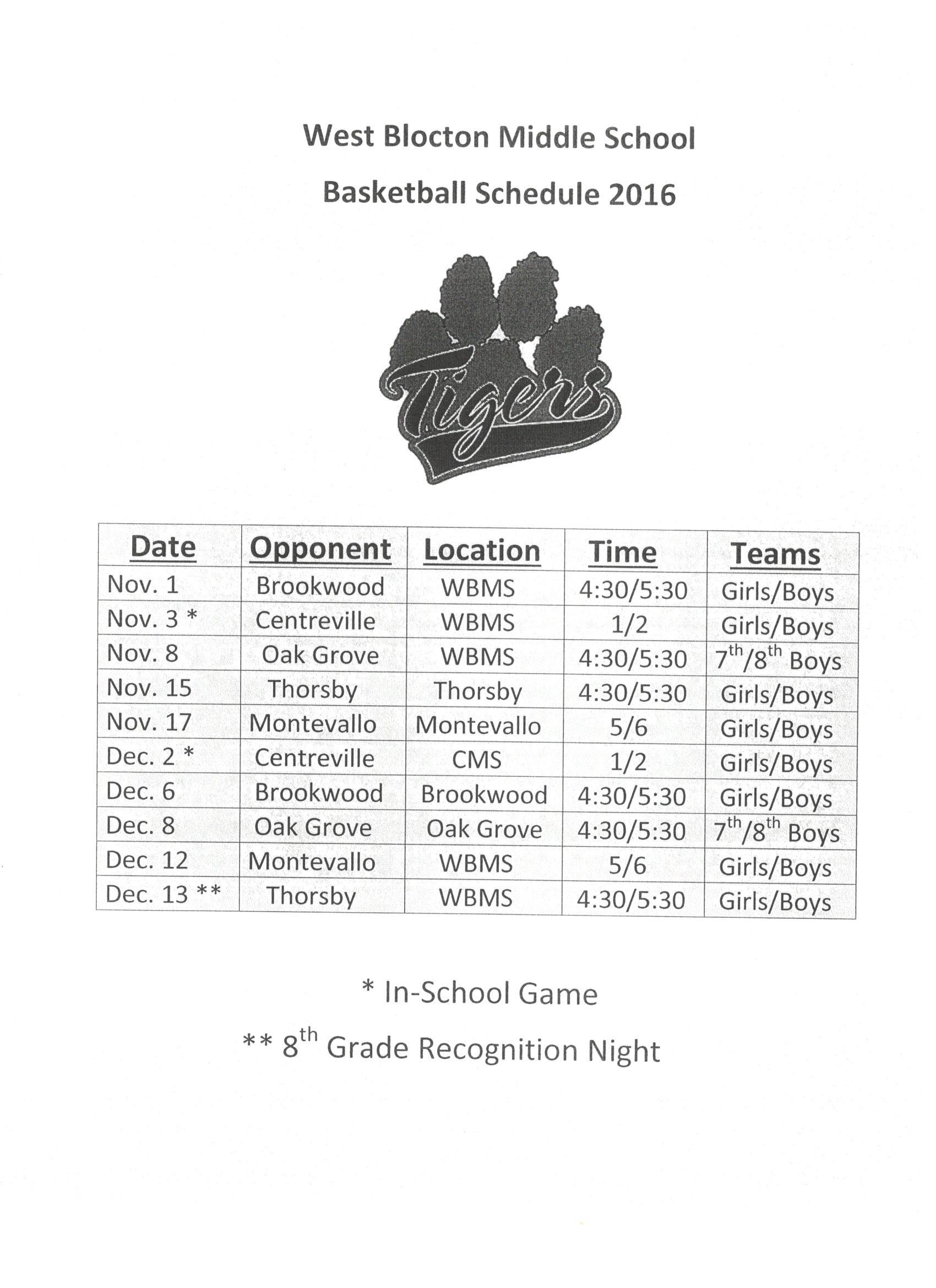 WBMS 2016-17 Boys and Girls Basketball schedule
