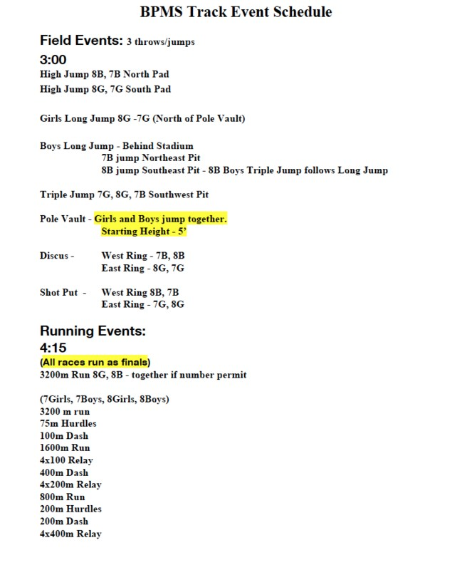 MS and HS Track Meet info Thumbnail Image