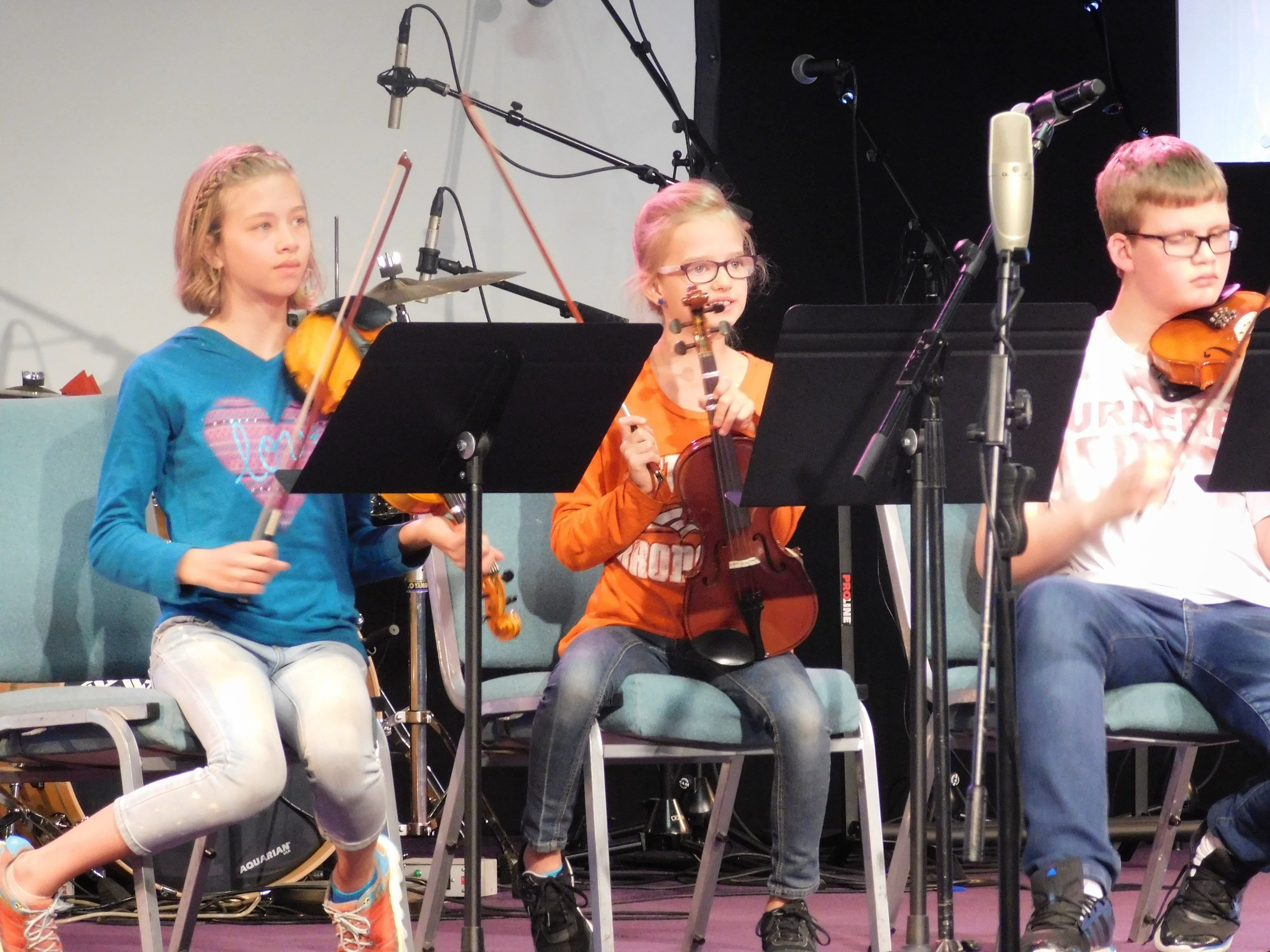 Students performing in Strings class.
