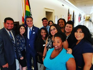 Landmark MS staff with U.S. Rep. Mark Takano