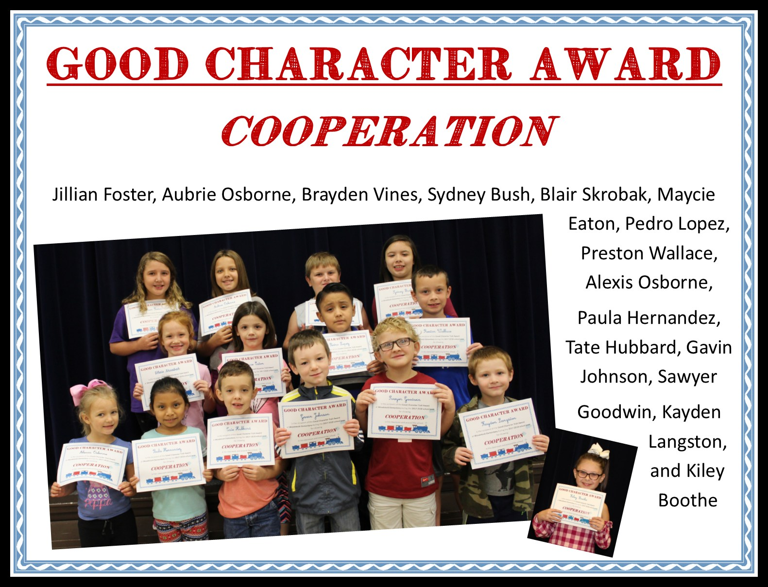 picture of student who received cooperation character trait award