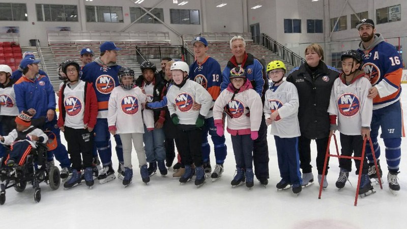 NYISE Middle Schooler on the ice with the NY Islanders.