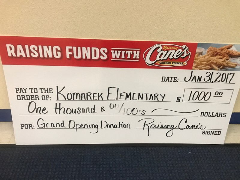 $1000 check from Raising Cane