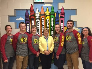 Academic Bowl team with Gallaudet President