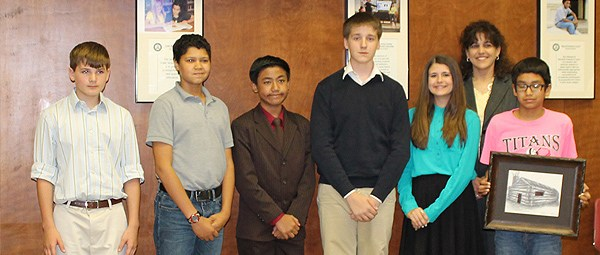 group photo of Korbyn Jones, Benjamin Tinsley, Darby Voss, Gabriel Domingo and Tristan Hanson, visd students who helped put together the information about visd's history