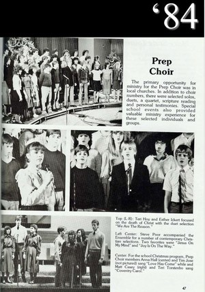 Scanned photo of 1984 Sceptre yearbook - Prep Choir